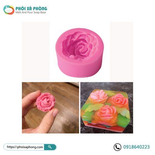 Khuôn Silicon Hình Hoa Hồng 3D Mini 4.5cm Trang Trí Bánh/Xà Phòng