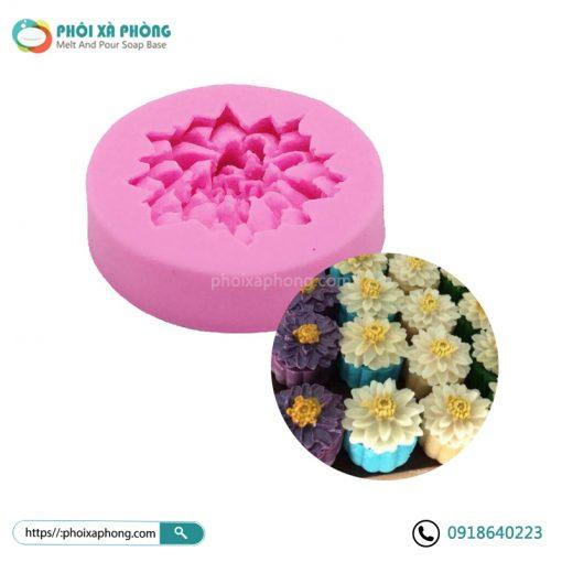 Khuôn Silicone Hình Hoa Sen 3D Mini 5.4cm Trang Trí Bánh/Xà Phòng