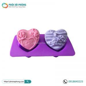 Khuôn Silicon Đôi Trái Tim Họa Tiết Love Rose