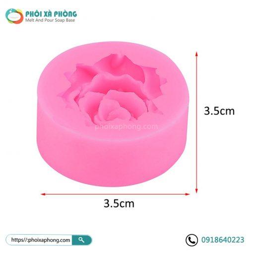 Khuôn Silicon Hình Hoa Hồng 3D Mini 3.5cm Trang Trí Bánh/Xà Phòng