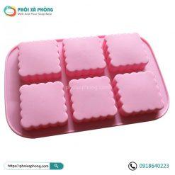Khuôn Silicon 6 Ô Vuông Hình Trung Thu (Square Floral Moon Cake Mold Soap Mold)