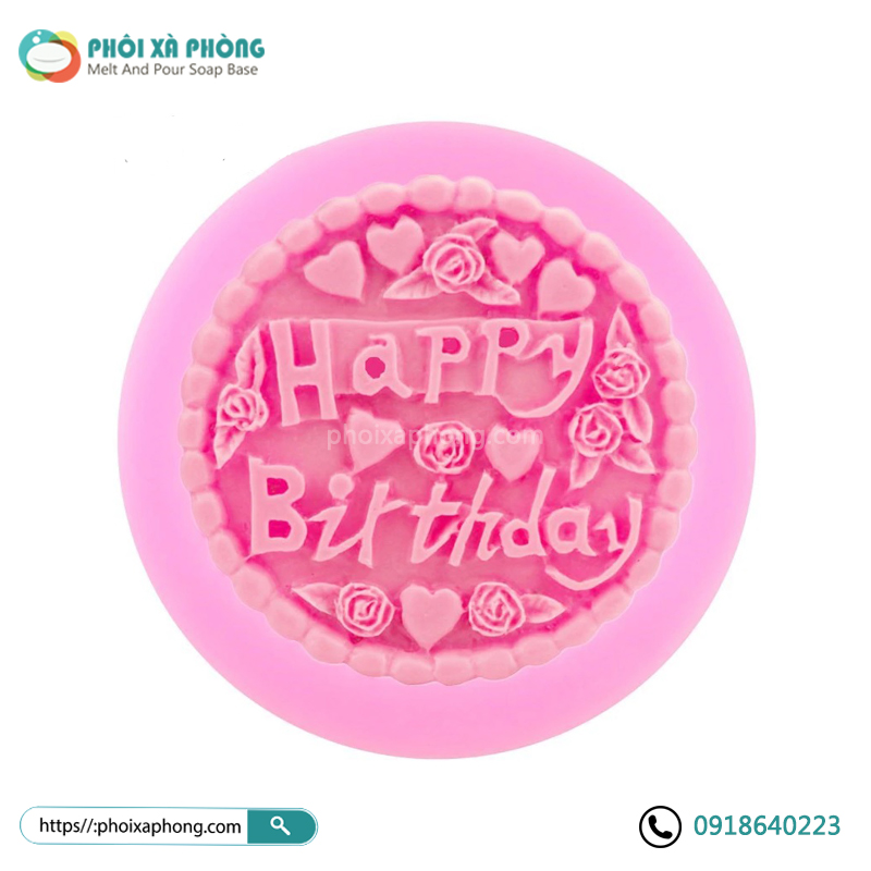 Khuôn Silicon Happy Birthday Trang Trí Xà Phòng