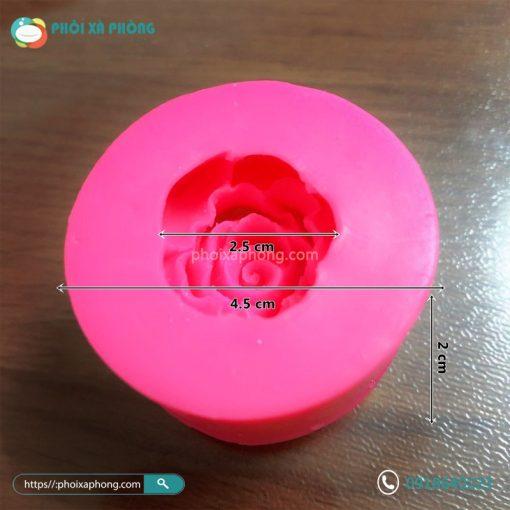 Khuôn Silicon Trang Trí Hoa Hồng Xòe Mini 4.5cm